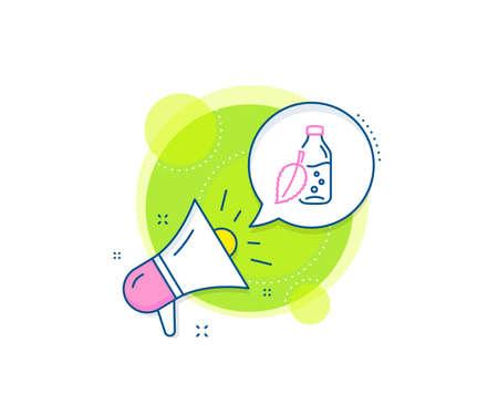 Soda aqua drink sign. Megaphone promotion complex icon. Water bottle line icon. Mint leaf symbol. Business marketing banner. Water bottle sign. Vector Ilustração