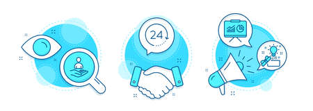 Creative idea, Recruitment and 24 hours line icons set. Handshake deal, research and promotion complex icons. Presentation sign. Present box, Hr, Time. Board with charts. Education set. Vector Ilustracja