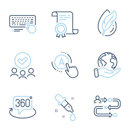 Journey path, Hypoallergenic tested and Chemistry pipette line icons set. Diploma certificate, save planet, group of people. Ab testing, 360 degree and Computer keyboard signs. Vector