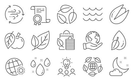 Set of Nature icons, such as Bio shopping, Leaf. Diploma, ideas, save planet. Rainy weather, Wind energy, Waves. Apple, Water drop, World weather. Leaves, Pistachio nut, Eco organic line icons. Vector