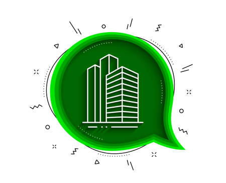 Skyscraper buildings line icon. Chat bubble with shadow. City architecture sign. Town symbol. Thin line skyscraper buildings icon. Vector