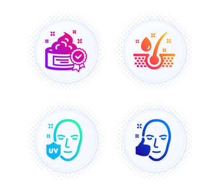 Cream, Serum oil and Uv protection icons simple set. Button with halftone dots. Healthy face sign. Best lotion, Healthy hairs, Ultraviolet. Beauty set. Gradient flat cream icon. Vector Illustration
