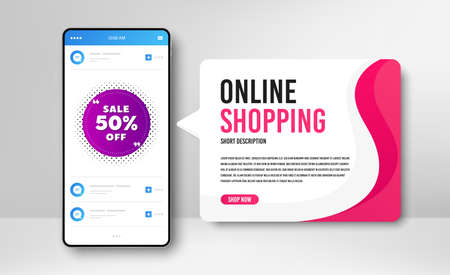 Phone banner template. Sale 50% off badge. Discount banner shape. Coupon bubble icon. Social media banner with smartphone screen. Online shopping web template. Sale 50% promotion badge. Vector Vetores