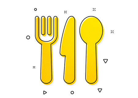 Cutlery sign. Food icon. Fork, knife, spoon symbol. Yellow circles pattern. Classic food icon. Geometric elements. Vector Ilustração