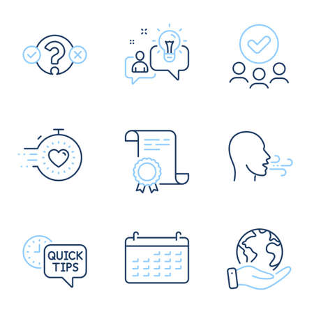 Breathing exercise, Quiz test and Quick tips line icons set. Diploma certificate, save planet, group of people. Calendar, Idea and Timer signs. Breath, Select answer, Helpful tricks. Vector Illustration