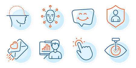 Face biometrics, Eye laser and Love letter signs. Presentation board, Security and Touchpoint line icons set. Smile chat, Face scanning symbols. Growth chart, Private protection. People set. Vector Illustration