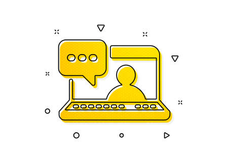Friendship love sign. Friends chat icon. Assistance business symbol. Yellow circles pattern. Classic friends chat icon. Geometric elements. Vector Illustration
