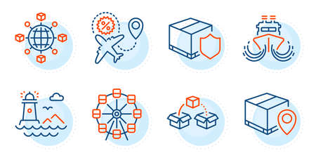 Ship, Parcel tracking and Lighthouse signs. Delivery insurance, Flight sale and Logistics network line icons set. Parcel shipping, Ferris wheel symbols. Outline icons set. Vector