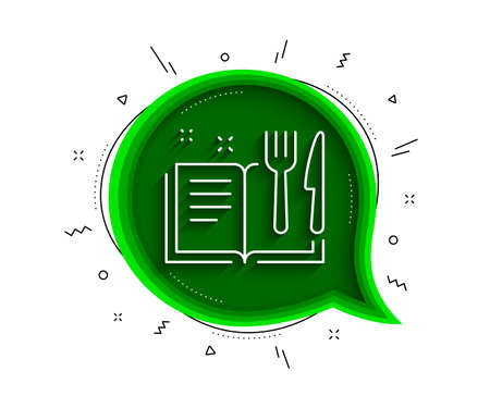 Recipe book line icon. Chat bubble with shadow. Cutlery sign. Fork, knife symbol. Thin line recipe book icon. Vector