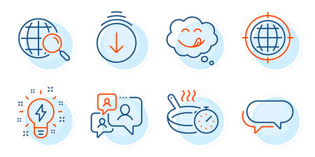 Yummy smile, Frying pan and Inspiration signs. Seo internet, Messenger and Scroll down line icons set. Support chat, Web search symbols. Globe, Speech bubble. Technology set. Outline icons set. Vector Illustration