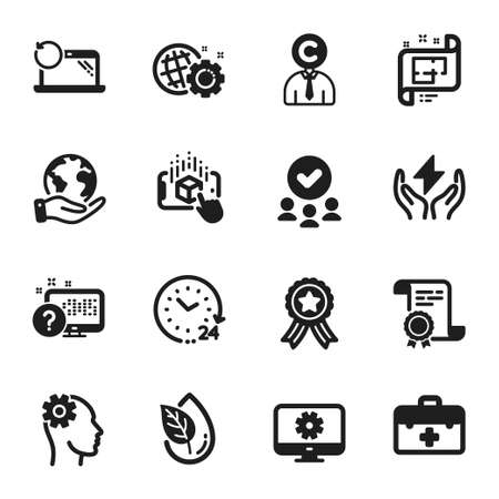 Set of Science icons, such as Architectural plan, Online quiz. Certificate, approved group, save planet. Engineering, Augmented reality, First aid. Recovery laptop, 24 hours, Seo gear. Vector