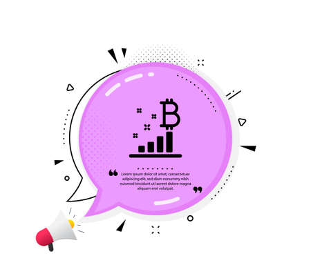 Bitcoin graph icon. Quote speech bubble. Cryptocurrency analytics sign. Crypto money symbol. Quotation marks. Classic bitcoin graph icon. Vector