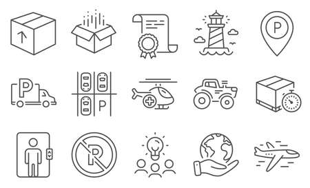 Set of Transportation icons, such as No parking, Medical helicopter. Diploma, ideas, save planet. Delivery timer, Truck parking, Tractor. Elevator, Lighthouse, Open box. Vector
