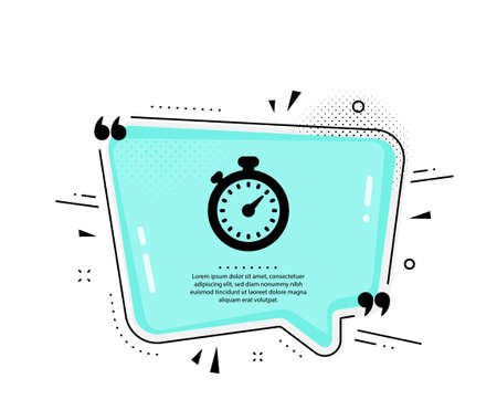 Timer icon. Quote speech bubble. Stopwatch symbol. Time management sign. Quotation marks. Classic timer icon. Vector