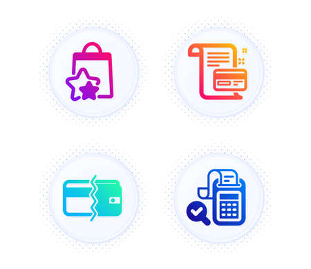 Payment card, Payment methods and Loyalty points icons simple set. Button with halftone dots. Bill accounting sign. Agreement conditions, Wallet cash, Bonus bags. Audit report. Finance set. Vector Illustration