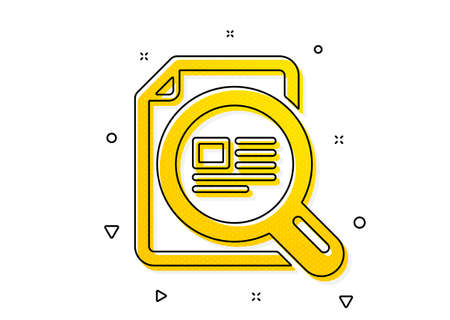 Ð¡opyright sign. Check article icon. Magnifying glass symbol. Yellow circles pattern. Classic check article icon. Geometric elements. Vector