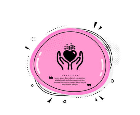 Hold heart icon. Quote speech bubble. Care love emotion sign. Valentine day symbol. Quotation marks. Classic hold heart icon. Vector