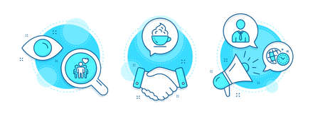 Human, Coffee cup and Time management line icons set. Handshake deal, research and promotion complex icons. Friendship sign. Person profile, Whipped cream, World clock. Trust friends. Vector