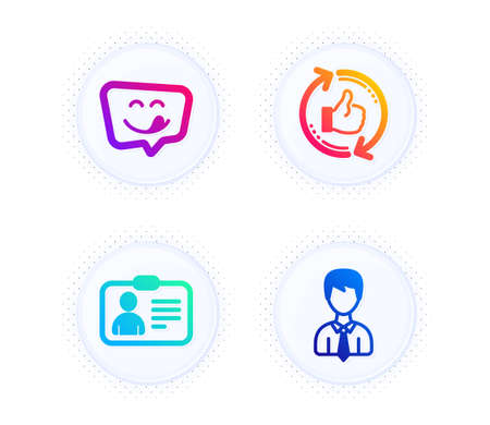Yummy smile, Refresh like and Id card icons simple set. Button with halftone dots. Businessman sign. Emoticon, Thumbs up counter, Human document. User data. People set. Vector Illustration