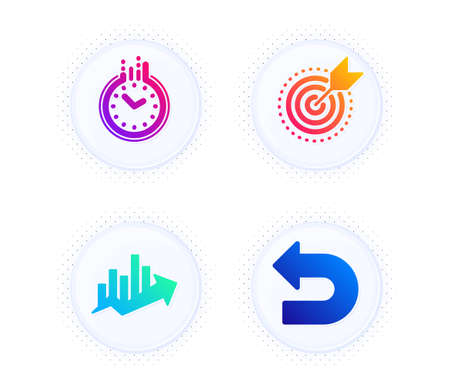 Target purpose, Growth chart and Time icons simple set. Button with halftone dots. Undo sign. Business focus, Sale diagram, Clock. Left turn. Technology set. Gradient flat target purpose icon. Vector Ilustracja