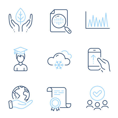 Snow weather, Student and Swipe up line icons set. Diploma certificate, save planet, group of people. Analytics chart, Fair trade and Line graph signs. Vector
