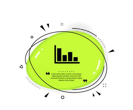 Histogram Column chart icon. Quote speech bubble. Financial graph sign. Stock exchange symbol. Business investment. Quotation marks. Classic histogram icon. Vector