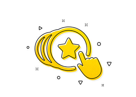 Friends love sign. Hold heart icon. Brand ambassador hand symbol. Yellow circles pattern. Classic hold heart icon. Geometric elements. Vector