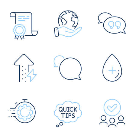 Quick tips, Oil serum and Seo timer line icons set. Diploma certificate, save planet, group of people. Energy growing, Quote bubble and Messenger signs. Helpful tricks, Cosmetic care, Cogwheel. Vector Illustration