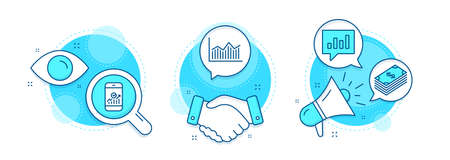 Money diagram, Smartphone statistics and Dollar line icons set. Handshake deal, research and promotion complex icons. Analytical chat sign. Currency diagram, Mobile business, Usd currency. Vector Illustration