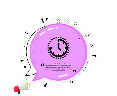 Time management icon. Quote speech bubble. Clock sign. Watch symbol. Quotation marks. Classic time icon. Vector