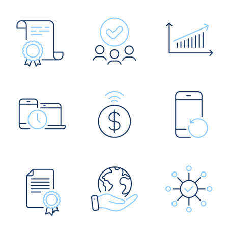 Time management, Survey check and Contactless payment line icons set. Diploma certificate, save planet, group of people. Recovery phone, Certificate and Chart signs. Vector