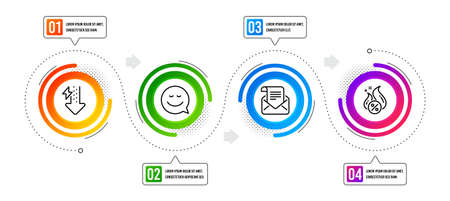 Energy drops, Smile and Mail newsletter line icons set. Infographic timeline. Hot loan sign. Power usage, Chat emotion, Open e-mail. Discount offer. Technology set. Vector