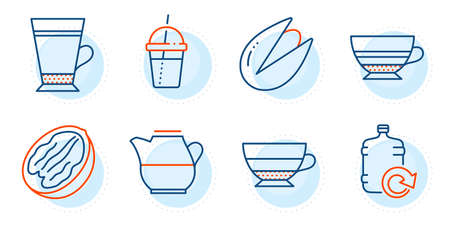 Refill water, Mocha and Milk jug signs. Latte, Pecan nut and Pistachio nut line icons set. Coffee cocktail, Americano symbols. Coffee beverage, Vegetarian food. Food and drink set. Vector