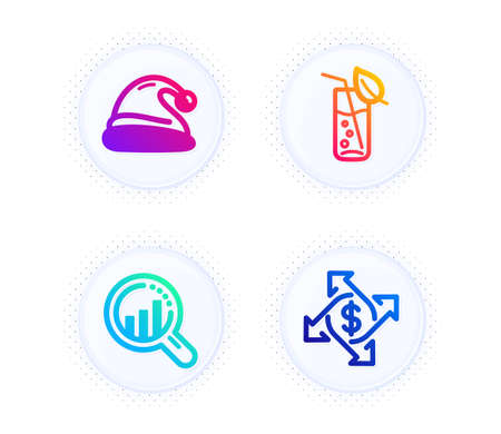 Santa hat, Water glass and Seo analysis icons simple set. Button with halftone dots. Payment exchange sign. Christmas, Soda drink, Targeting chart. Money transfer. Business set. Vector