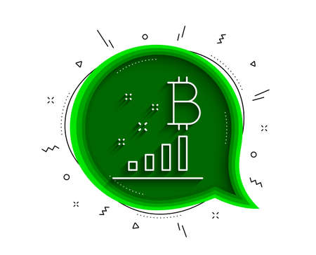 Bitcoin graph line icon. Chat bubble with shadow. Cryptocurrency analytics sign. Crypto money symbol. Thin line bitcoin graph icon. Vector Illustration