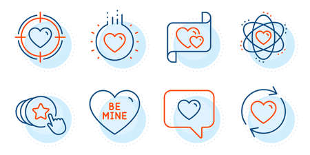 Update relationships, Love message and Valentine target signs. Atom, Hold heart and Love line icons set. Be mine symbol. Electron, Heart. Love set. Outline icons set. Ð¡ircle with dashed line. Vector