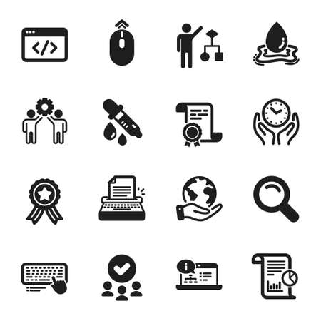 Set of Science icons, such as Search, Swipe up. Certificate, approved group, save planet. Chemistry pipette, Employees teamwork, Online documentation. Safe time, Computer keyboard, Algorithm. Vector