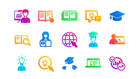 Book, Video tutorial and Instructions. Education icons. Presentation classic icon set. Gradient patterns. Quality signs set. Vector