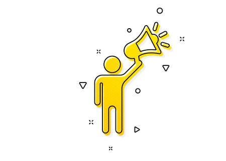 Holding megaphone sign. Brand ambassador icon. Advertisement device symbol. Yellow circles pattern. Classic brand ambassador icon. Geometric elements. Vector Illustration