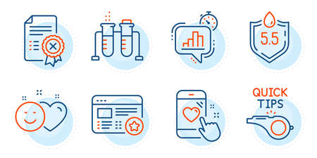 Statistics timer, Favorite and Chemistry beaker signs. Smile, Reject certificate and Heart rating line icons set. Tutorials, Ph neutral symbols. Social media like, Decline file. Vector