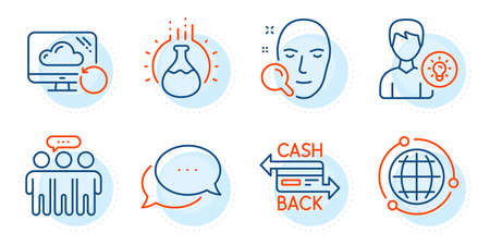 Person idea, Chemistry experiment and Dots message signs. Cashback card, Recovery cloud and Globe line icons set. Employees group, Face search symbols. Money payment, Backup info. Vector