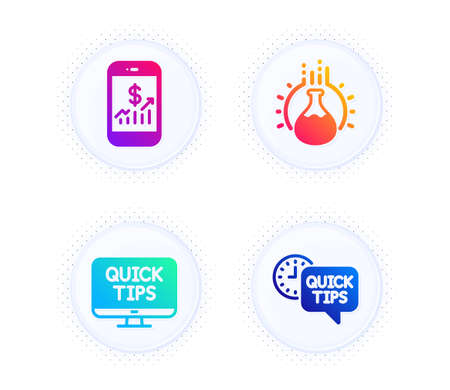 Chemistry experiment, Mobile finance and Web tutorials icons simple set. Button with halftone dots. Quick tips sign. Laboratory flask, Phone accounting, Quick tips. Helpful tricks. Vector Illustration
