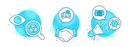 Car leasing, Leaves and Time management line icons set. Handshake deal, research and promotion complex icons. Gpu sign. Transport discount, Nature leaf, Alarm clock. Graphic card. Business set. Vector Vettoriali