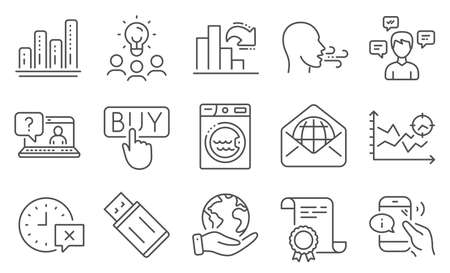 Set of Technology icons, such as Laundry, Conversation messages. Diploma, ideas, save planet. Buying, Seo analysis, Breathing exercise. Call center, Decreasing graph, Usb flash. Vector