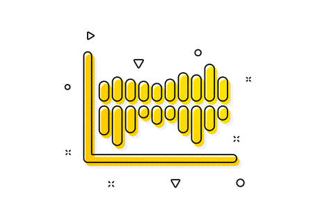 Financial graph sign. Column chart icon. Stock exchange symbol. Business investment. Yellow circles pattern. Classic column diagram icon. Geometric elements. Vector
