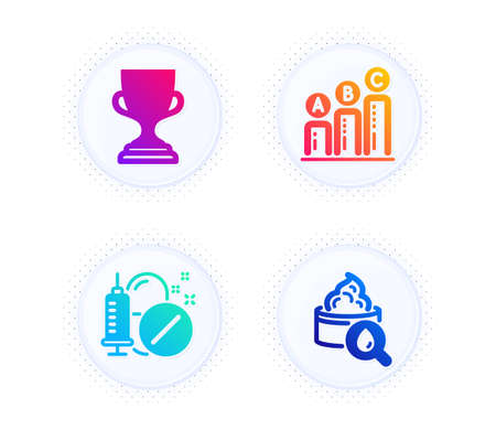 Medical drugs, Graph chart and Award cup icons simple set. Button with halftone dots. Moisturizing cream sign. Medicine pills, Growth report, Trophy. Face lotion. Business set. Vector