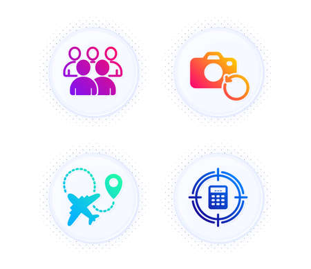 Group, Airplane and Recovery photo icons simple set. Button with halftone dots. Calculator target sign. Developers, Plane, Backup data. Audit. Business set. Gradient flat group icon. Vector