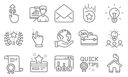 Set of Technology icons, such as Loyalty card, Idea. Diploma, ideas, save planet. Survey results, Quick tips, Loyalty star. Swipe up, 24h service, Presentation board. Ranking, Mail, Home. Vector