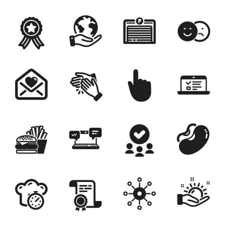 Set of Business icons, such as Cooking timer, Multichannel. Certificate, approved group, save planet. Sunny weather, Beans, Web lectures. Like, Love letter, Clapping hands. Vector