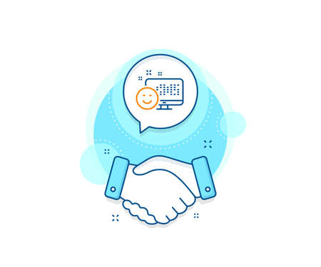 Positive feedback rating sign. Handshake deal complex icon. Smile line icon. Customer satisfaction symbol. Agreement shaking hands banner. Smile sign. Vector